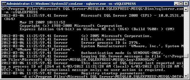 Start Sql Server 2005 In Single User Mode Command Line